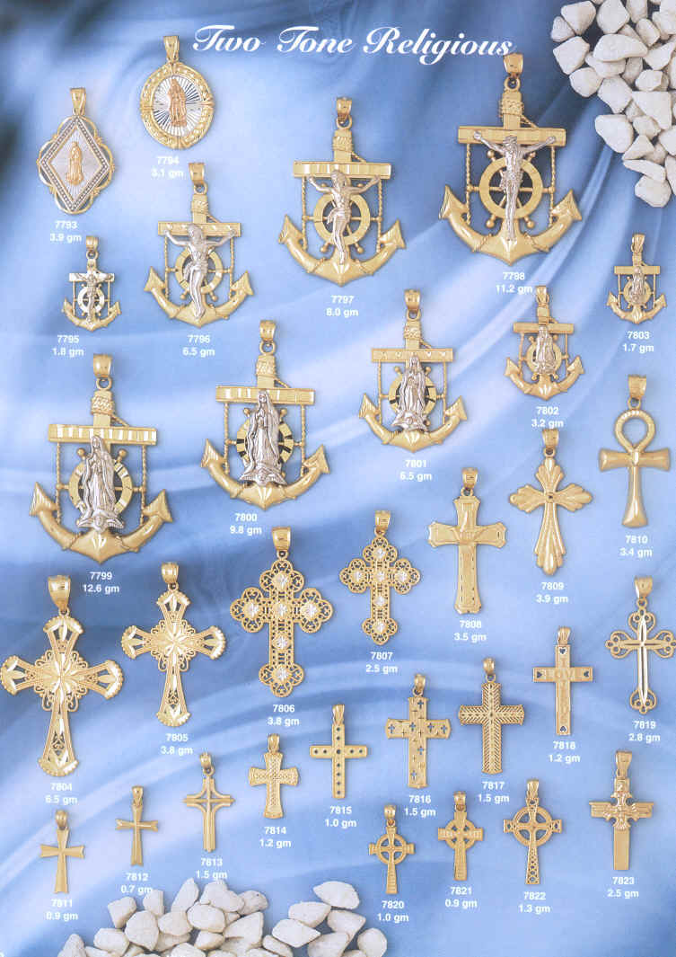 14 KT Gold Mariners Cross Mariners Crusifix anchors and chain Two