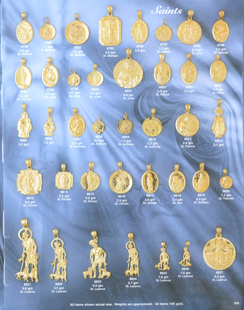 14 kt gold religious pendants charms medals crucifixes